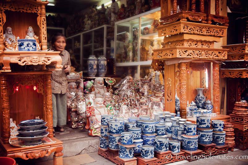 Buddhist Altar store, Pho Hang Quat, Old Quarter, Hanoi, Vietnam