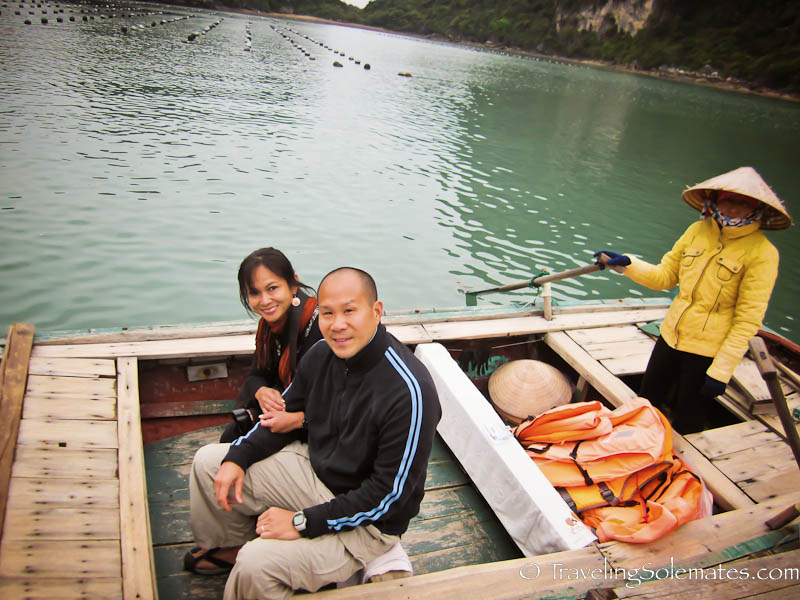 Row boat on Vung Vieng fishing village, Halong Bay, Vietnam