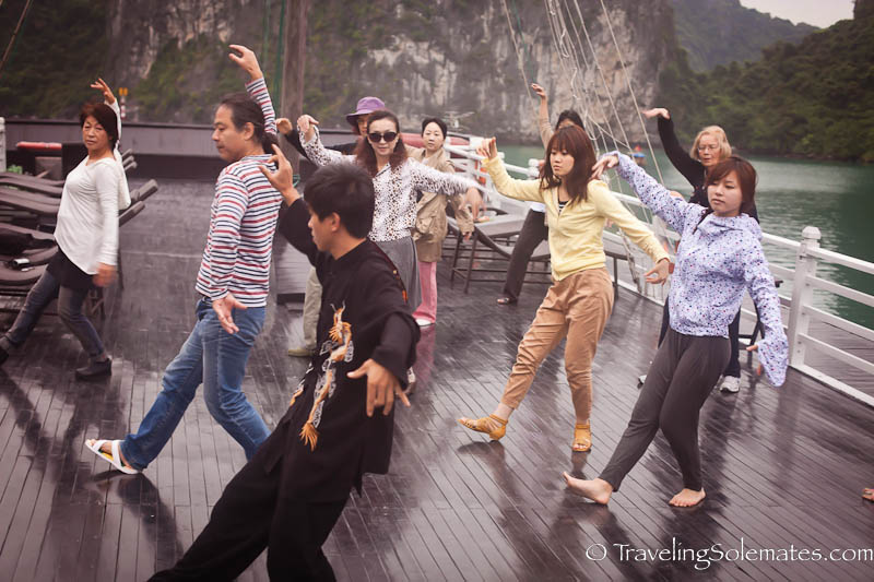 Tai Chi Class, Bhaya Legend Cruise, Halong Bay, Vietnam