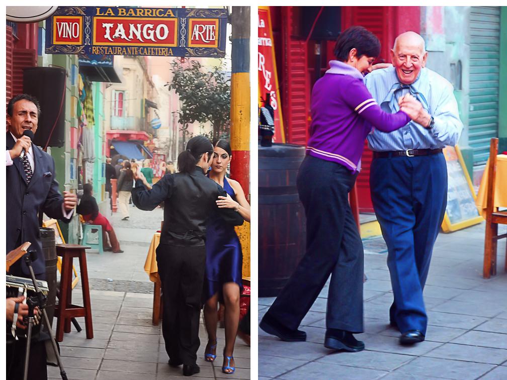People Dancing Tango in Caminito, La Boca, Buenos Aires, Argentina