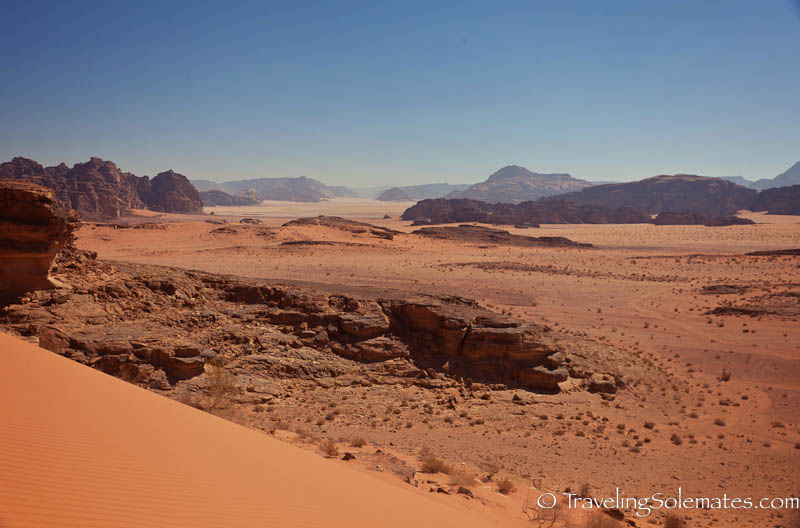 Desert Dunes and Rock Formations in Wadi Rum, Jordan