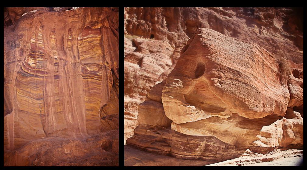 Geologic Formations in The Siq, Petra Jordan