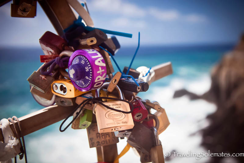 Lovelocks in Via dell' Amore Trail, Hiking in Cinque Terre, Italy