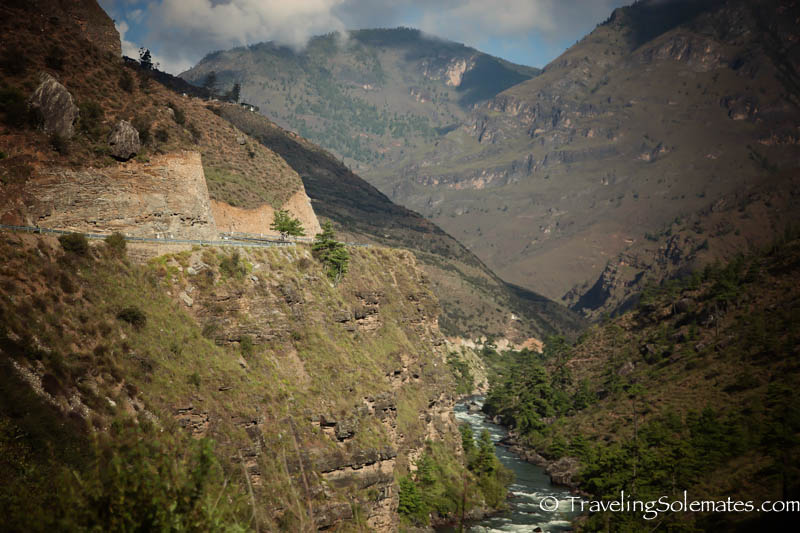 The road between Paro and Thimphu, Bhutan
