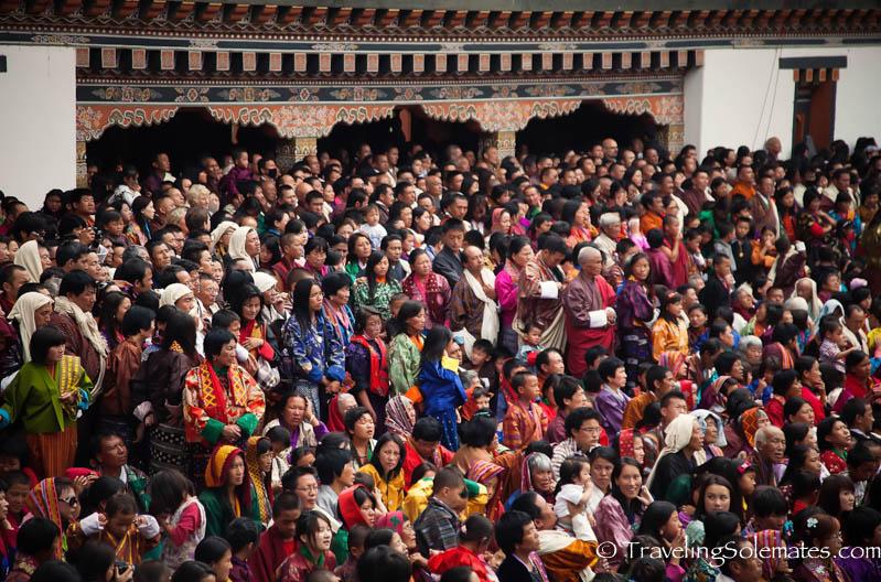 Crowds in Festival (Tsechu), Tashichho Dzong, Thimphu, Bhutan