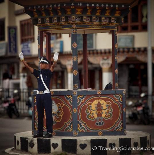 Traffic cop, Norzin Lam, Main Street in Thimphu, Bhutan.jp