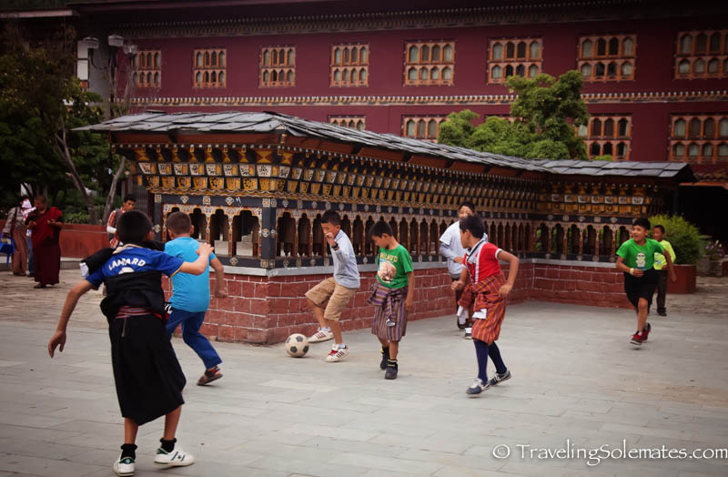 Children playing in the Clock Tower Square in Thimphu, Bhutan