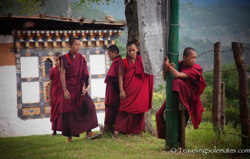 Monks in Chimi Lakhang, Punakha Valley, Bhutan