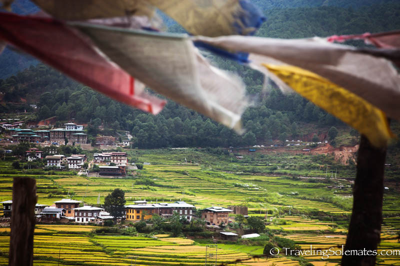 Rice paddies  and villages along he Hike to Chimi Lakhang, Punakha Valley, Bhutan