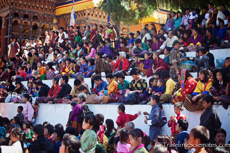 The crowd at Tsechue Festival in Wangdue, Bhutan