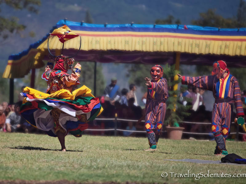 Mask Dancers at Tsechue Festival in Wangdue, Bhutan
