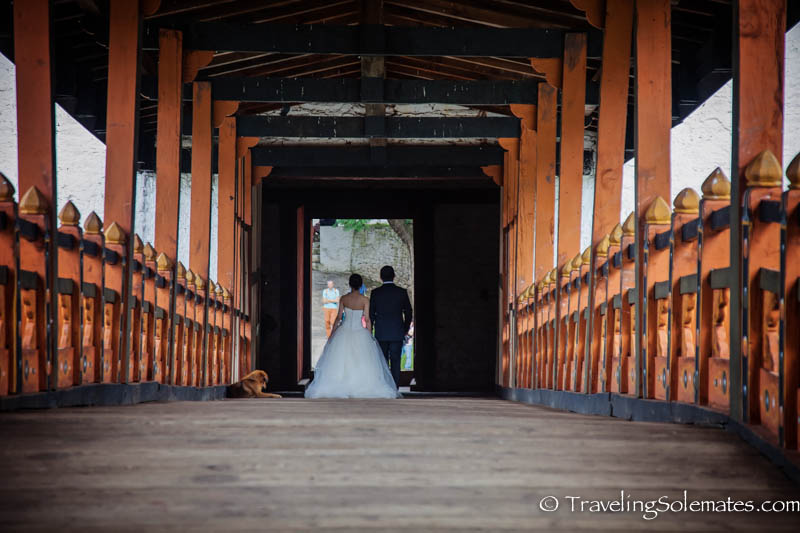 Bride and Groom on Bridge, Punakha Dzong, Bhutan