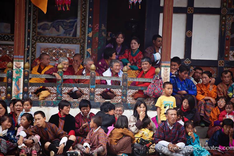 Audience in Tamshing Phala Chhoepa Festival at Tamshi Lhakhang, Bumthang, Bhutan