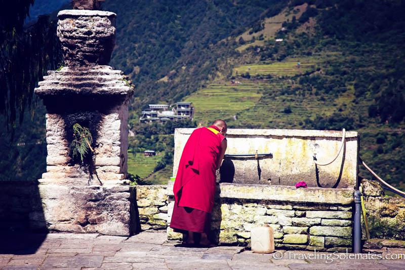 Monk in Trongsa Dzong (Fortress), Bhutan