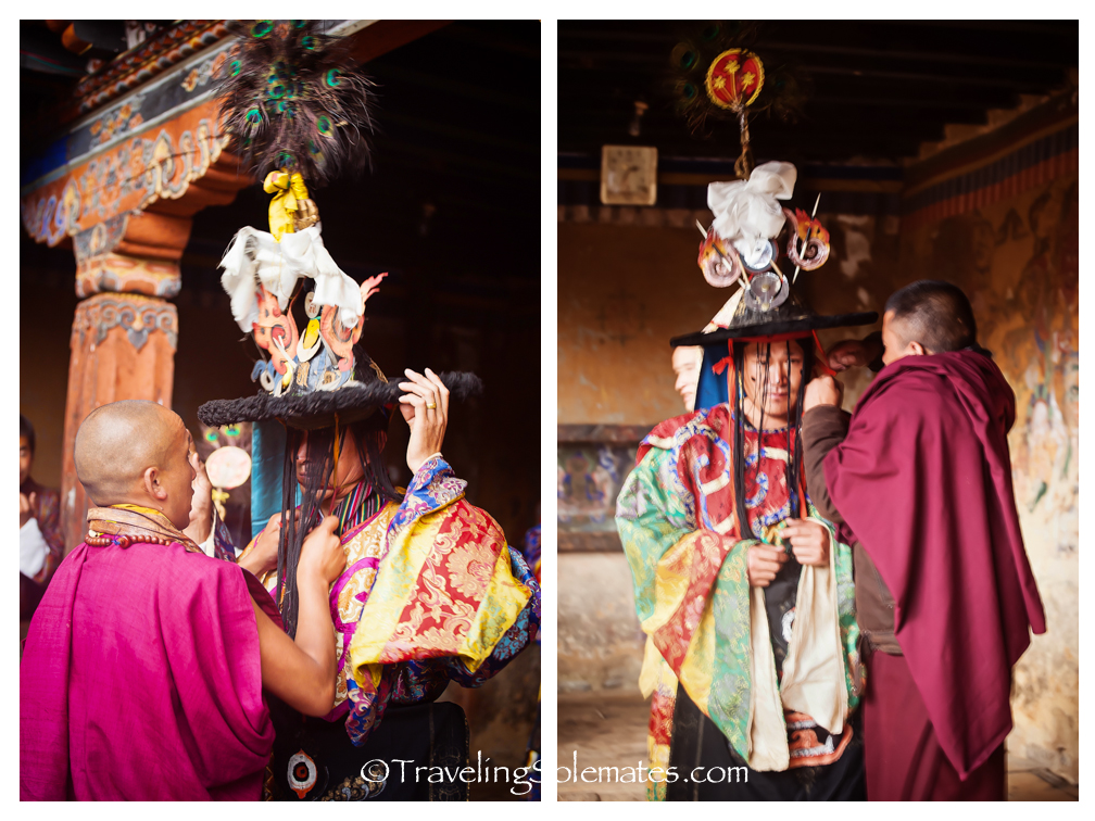 Monks getting dressed for Tamshing Phala Chhoepa Festival, Bumthang, Tamshi Lhakhang, Bhutan