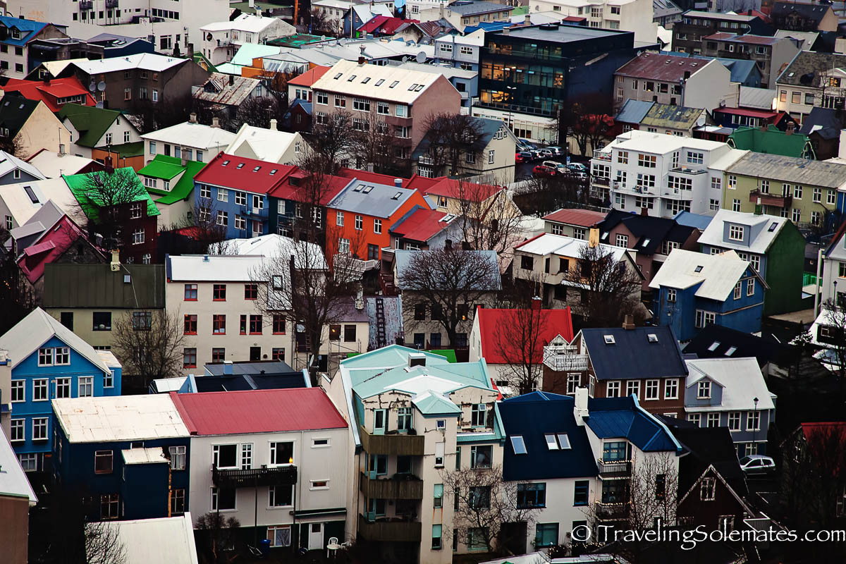Bird's Eyeview of Colorful Houses and Buildings in Reykjavik, Iceland from the top of Hallgrimskirkja Church
