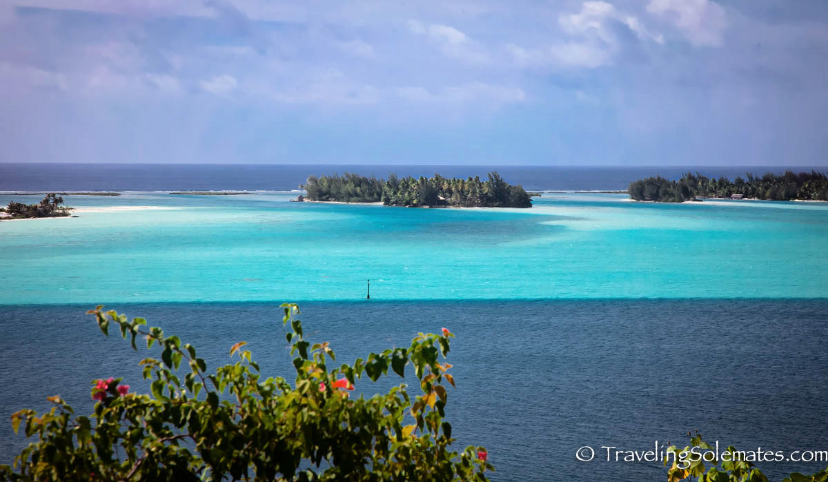Colorful Water and Islets of Bora Bora, French Polynesia, South Pacific