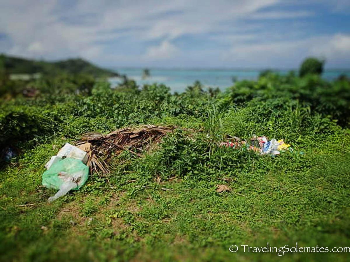 Trash in Mainland Bora Bora