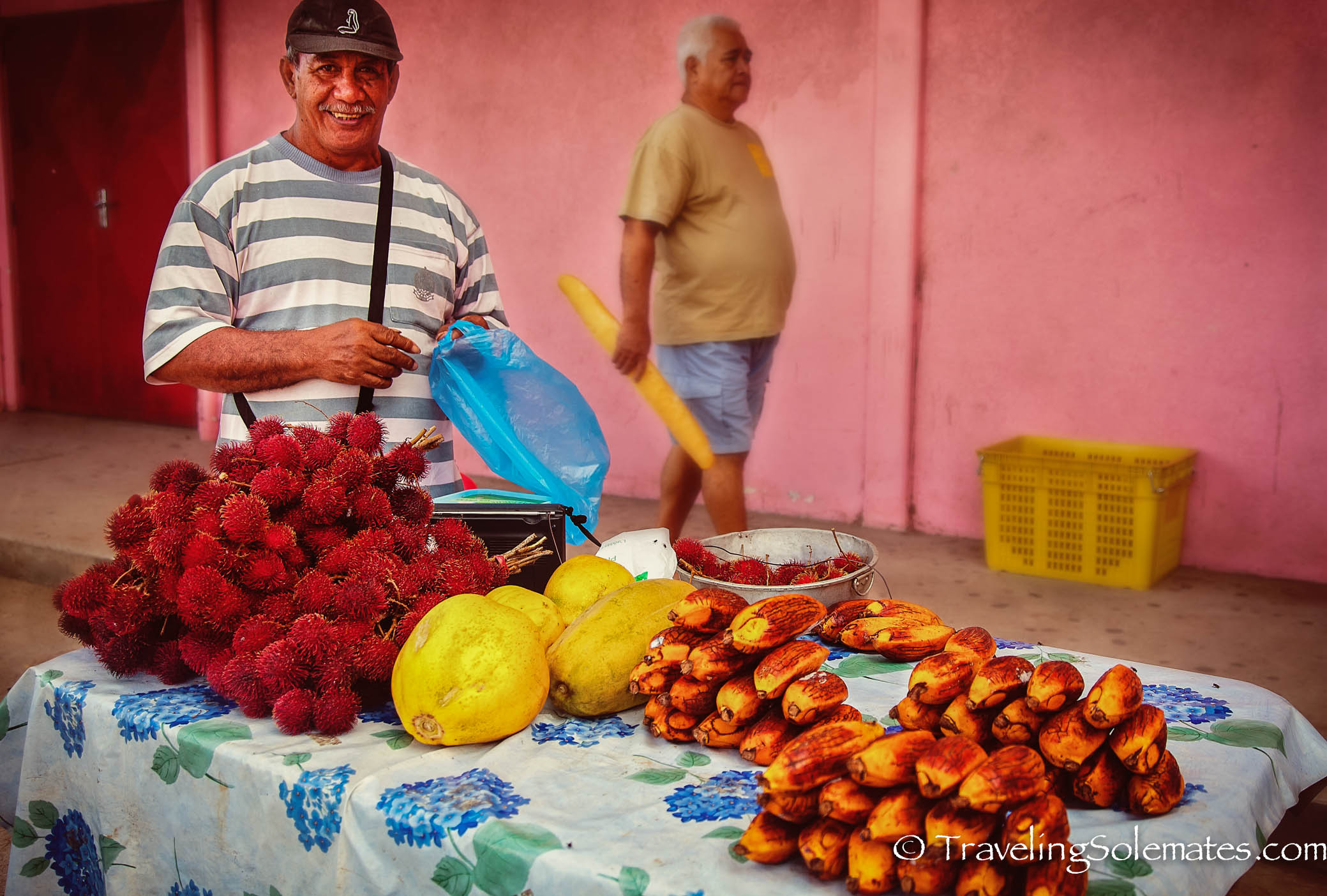 Fruit Vendor at Market in Town of Fare, Huahine, French Polynesia, South Pacific