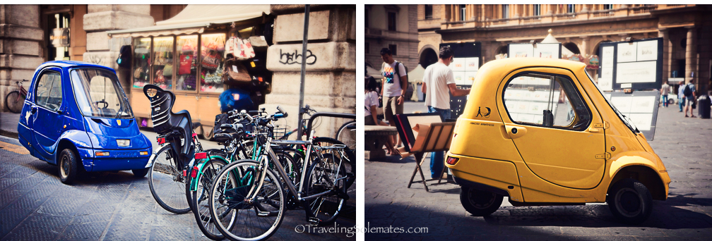 Tiny cars in Florence, Italy