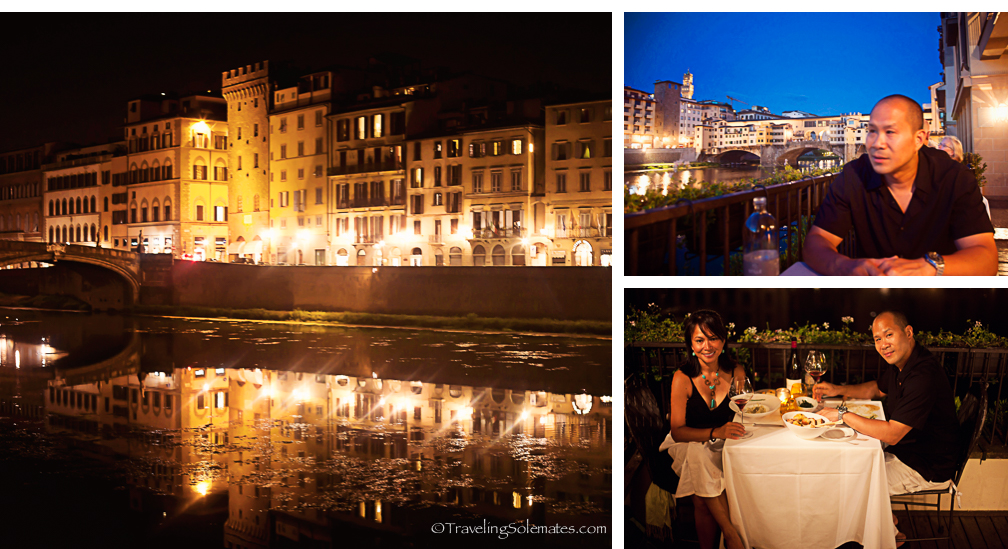 Dinner at Borga San Jacobo Restaurant along the Arno River, Florence, Italy