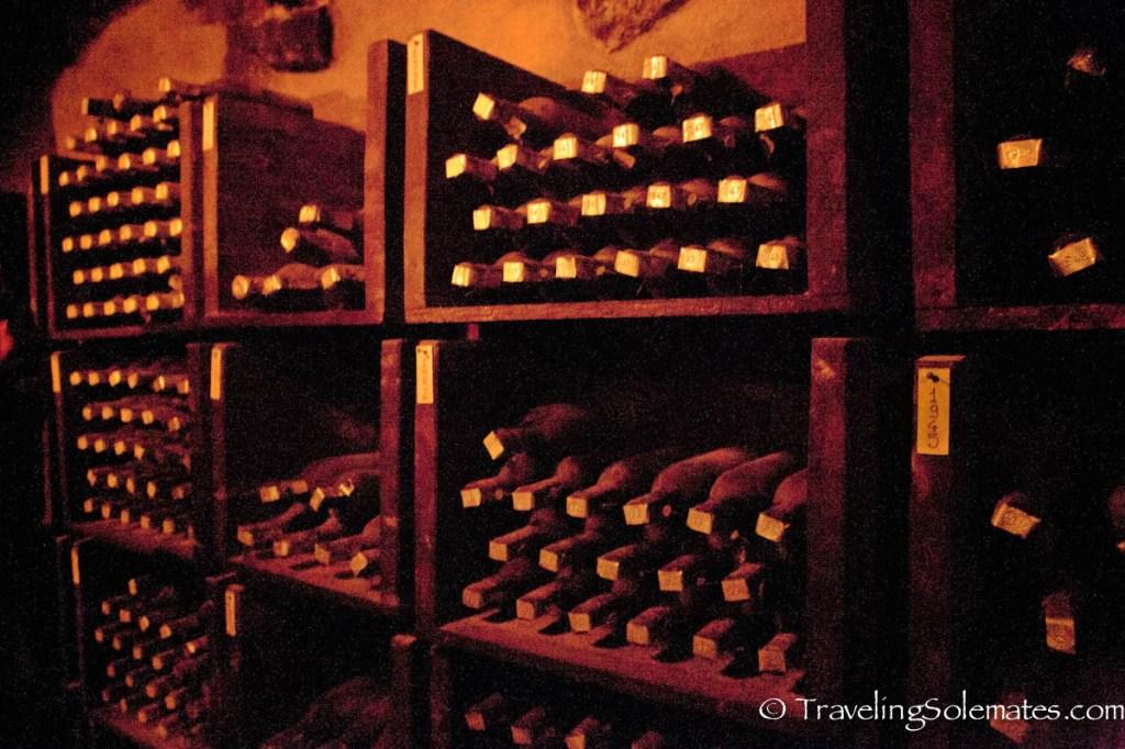 Wine cellar in Castello di Querceto Winery, Greve in Chianti, Tuscany, Italy