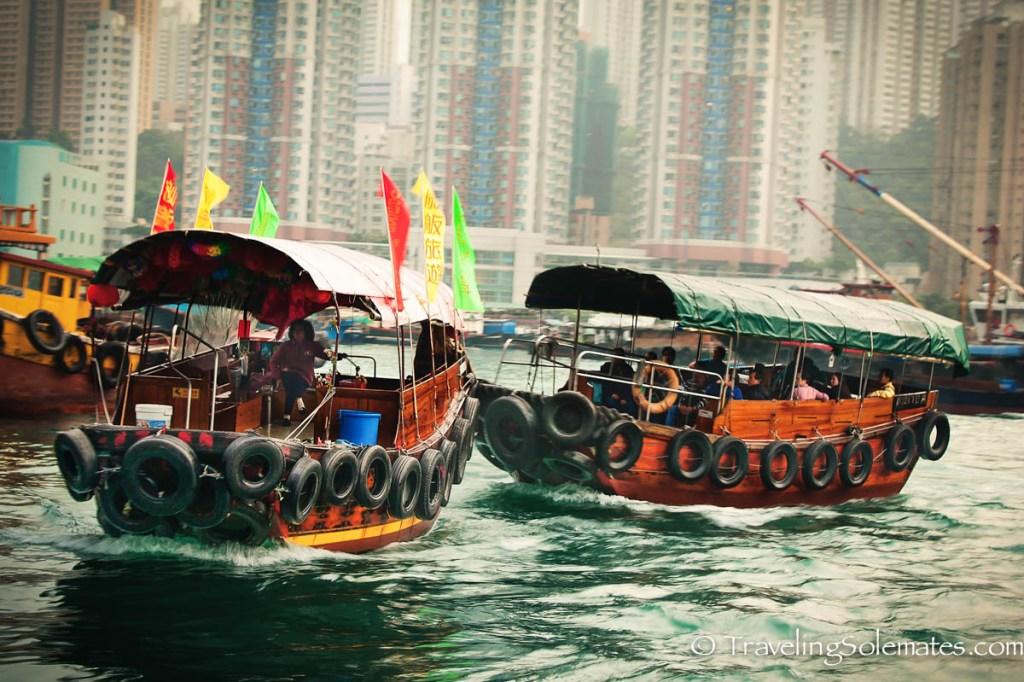Sampan boats on Aberdeen Harbor, Hong Kong