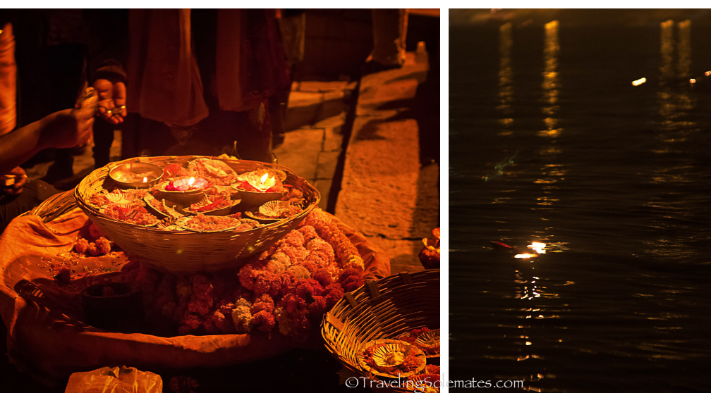 Votive Candles in Ganges River. Varanasi, India