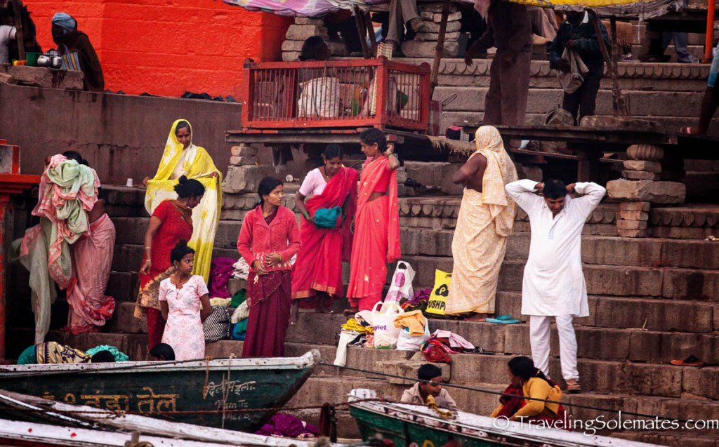 People on the ghats along Ganges River, Varanasi India