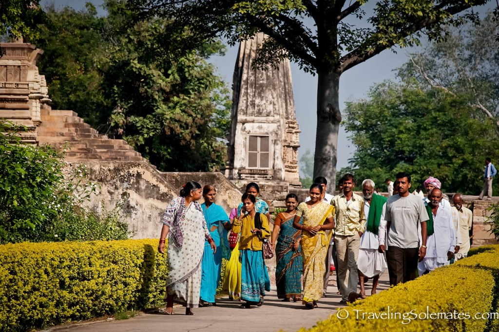 Locals visiting Khajurano Temples, India