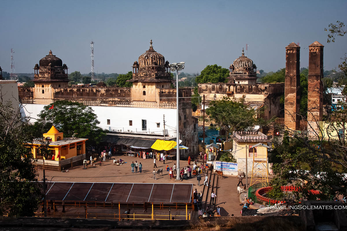 View of town square from Chaturbhuj, Orchha, India