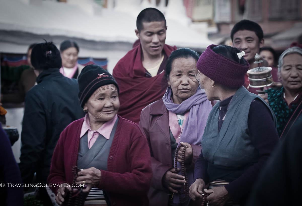 Pilgrims in Bodnath, Kathmandu, Nepal