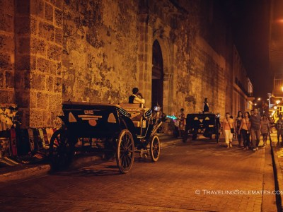 Horse carriages in the street of Old Cartagena, Colombia