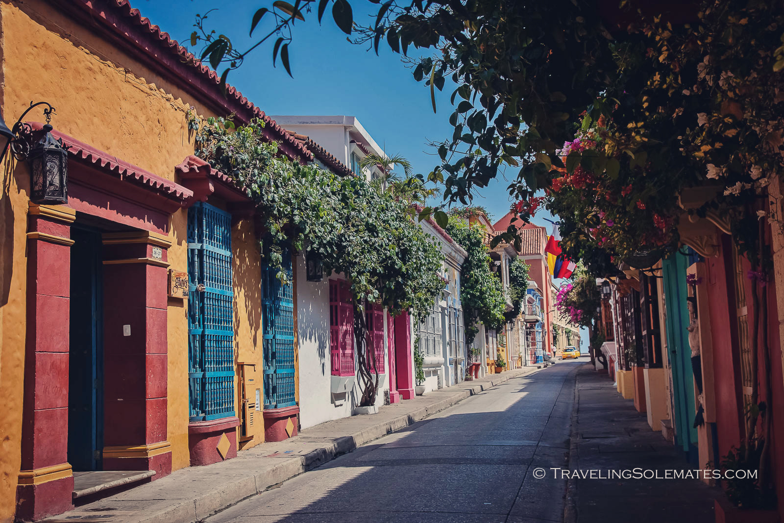Colorful street in Old Cartagena, Colombia