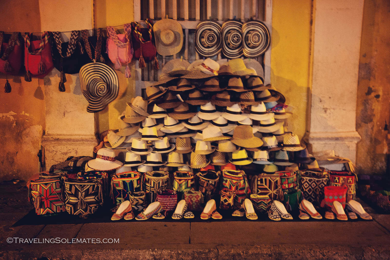 Street shopping stall in Old Cartegena, Colombia