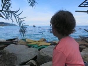 Lincoln loved watching the boats that travel around and between the two islands