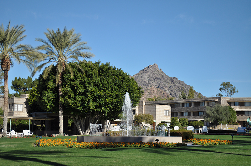 Squaw peak forms a backdrop to the inner gardens of the Arizona Biltmore.