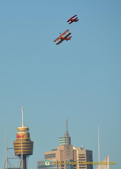 Breitling wing walk over Sydney, Australia