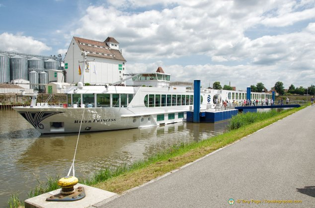 The River Princess moored in Bamberg