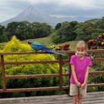 A blue macaw alights beside our big kid for a photo in front of Arenal Volcano