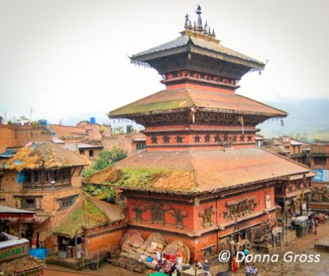 Bhairavnath Temple, Bhaktapur - grass grows on the roofs