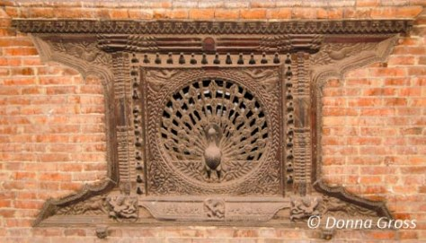 Hand carved peacock window - hundreds of years old