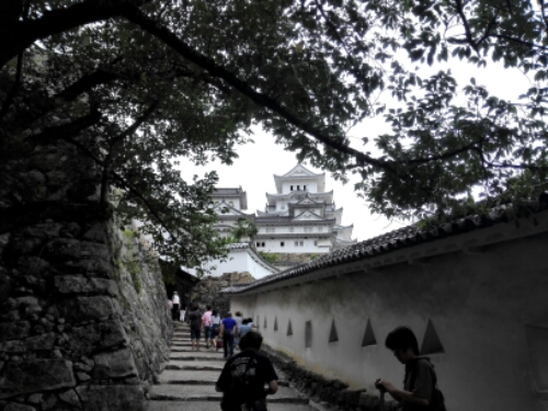 Walking up to Himeji Castle