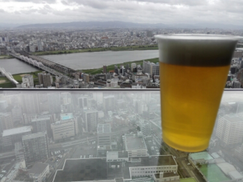 A beer on top of Umeda Sky Building
