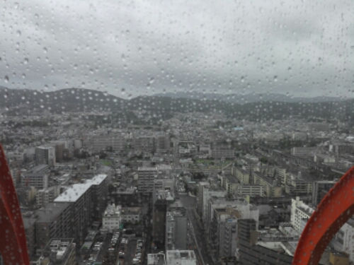Raining at Kyoto Tower
