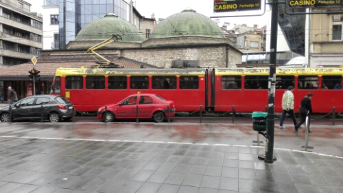 An old street car on the streets of Sarajevo