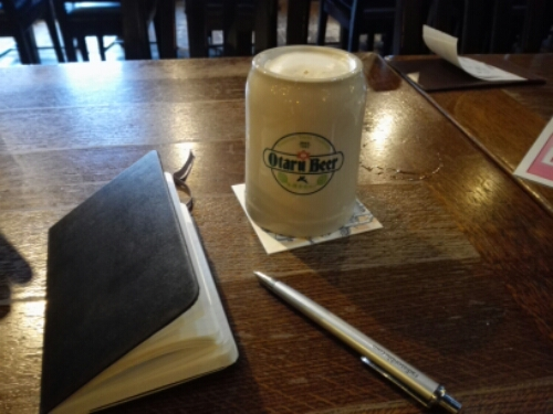 Drinking Otaru Beer and writing in my travel journal