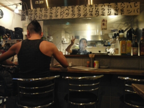 The chef at the heavy metal yakitori restaurant