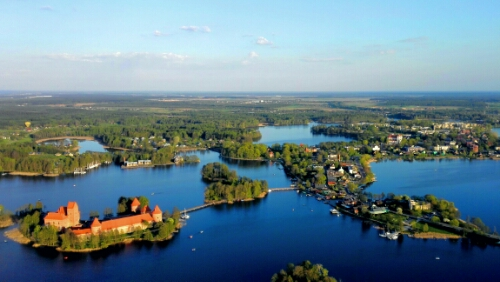 View of Trakai from a hot air balloon