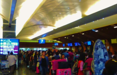Long lines at Taoyuan Airport in Taiwan